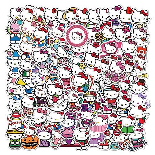 XZZ Simpatico Cartone Animato Immagine Hello Kitty Graffiti Sticker Cellulare Valigia di Vetro Adesivo Impermeabile 50Pcs