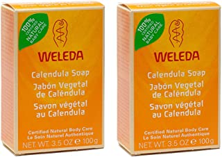 Weleda Certified All Natural Organic Calendula Baby Bar Soap With Mild Face and Body Cleanser For Sensitive Skin And Plant Based Soap, Chamomile, and Pansy, For Kids and Adults, 3.5 oz (Pack of 2)