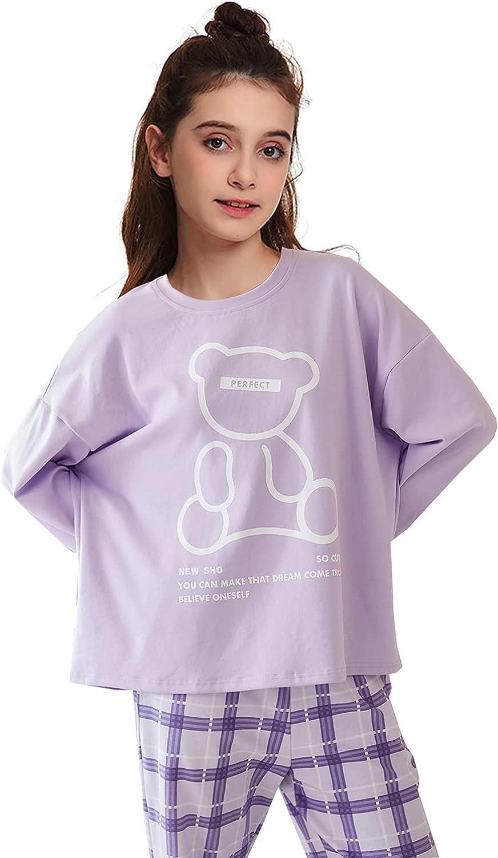Pajamas for Girls Cute Long Sleeve Jammies Set Loose Sleepwear Teens Big Kids 12-18Years