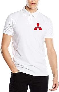 Kaivis New Designed Mitsubishi Car Logo Fashion Funny Printed PyrographPolo Shirt Short Sleeve for Men Black