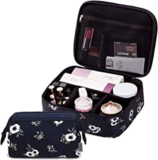 2 Pcs Black Makeup Case Cosmetic Travel Bag Beauty Toiletry Bag Cute Zippered Portable Multifunction Organizer For Women