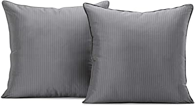 HPD Half Price Drapes DS-PS003-CC18PR Silk Stripe Cushion Covers - Pair (2 Pieces), 18 X 18, Cambridge Grey