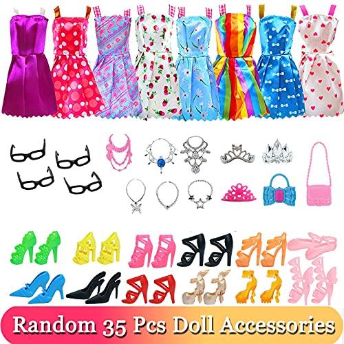 XKMY Vestidos para muñeca 32 artículos/set accesorios de muñeca = 10 mezcla lindo vestido+4 gafas+6 collares+2 bolso + 10 zapatos ropa de vestir para muñeca Barbie (color: 35 piezas)