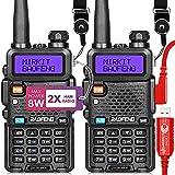Mirkit Ham Radio Baofeng UV-5R MK4 8W Max Power 2021 Two Way Radio (2 Pcs Ham Radio Handheld Long Range Walkie Talkies Set and Baofeng Programming Cable Chirp Friendly)