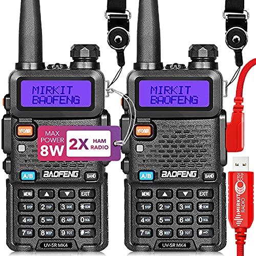 Mirkit 2X Ham Radios Baofeng UV5R MK4 8 Watt Max Power 2021 Two Way Radio with 1800 mAh Baofeng Battery for Your Handheld Long Range Walkie Talkies, Programming Cable Chirp Friendly & Mirkit Software