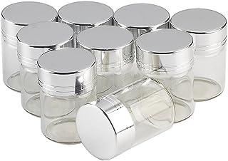 Jarvials無料配送12個セット15ml明るい銀色アルミニウム蓋 ガラス瓶,絶妙で美しい DIYホリデーギフト結婚式の装飾小さな贈り物最良の選択,茶の葉 ふんまつ キャンディ えきたい とうがらし調味料貯蔵し (15ml, シルバー)