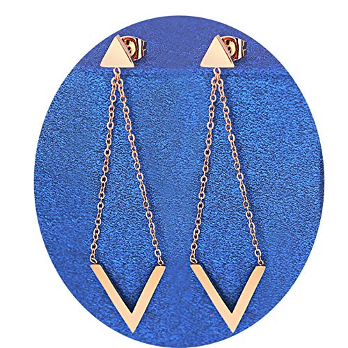 AnazoZ Pendiente Mujer Pendientes Triangular Pendientes Acero Inoxidable Aros Pendientes Oro Rosa