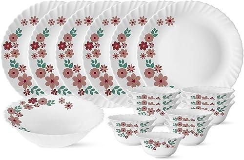 DK HOME APPLIANCES 12 Pieces Dinner Set 4 Spoon 4 Dish 4 Bowl Multicolor