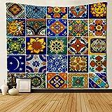 Tapiz mexicano SARA NELL Talavera de cerámica, diseño de luna, decoración del hogar, tapiz de poliéster para sala de estar, recámara, baño, cocina, recámara, dormitorio, recámara de 127 x 152...