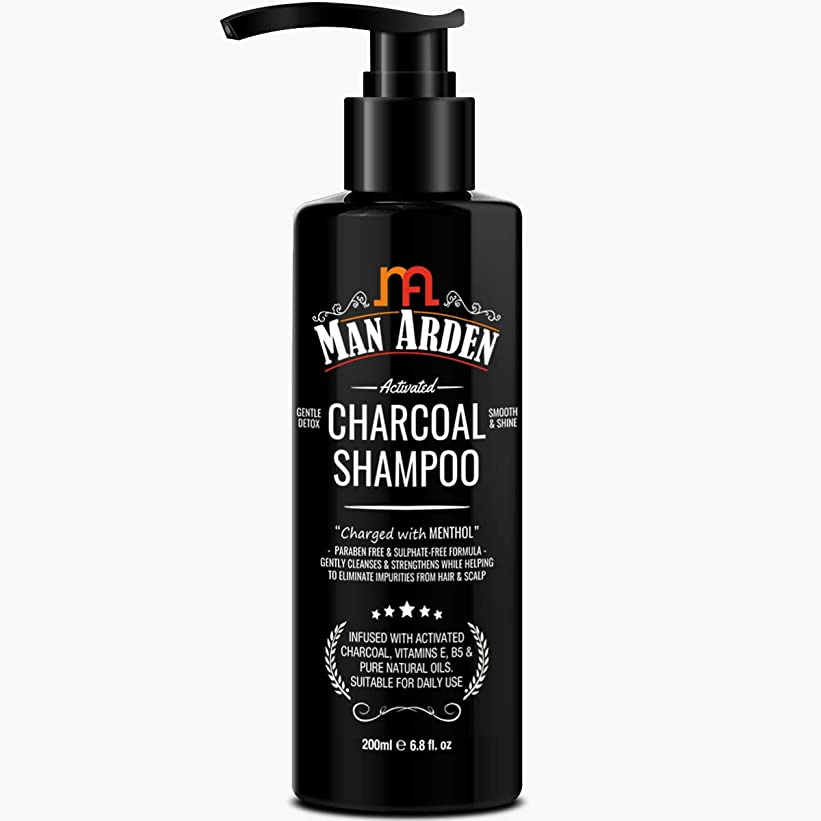 Man Arden Activated Charcoal Shampoo With Menthol (No Sulphate, Paraben or Silicon), 200ml - Daily Clarifying and Cleansing Hair Shampoo for Men