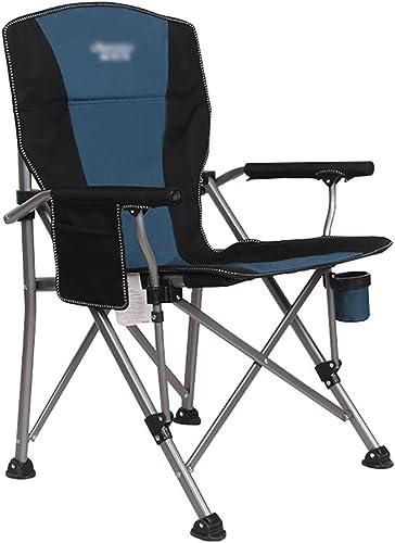 Chaises de camping WSSF Robuste en Acier Bleu Pliant Chaise Longue rembourrée Chaise de Pique-Nique extérieure Jardin Plage pêche - Charge 150 kg