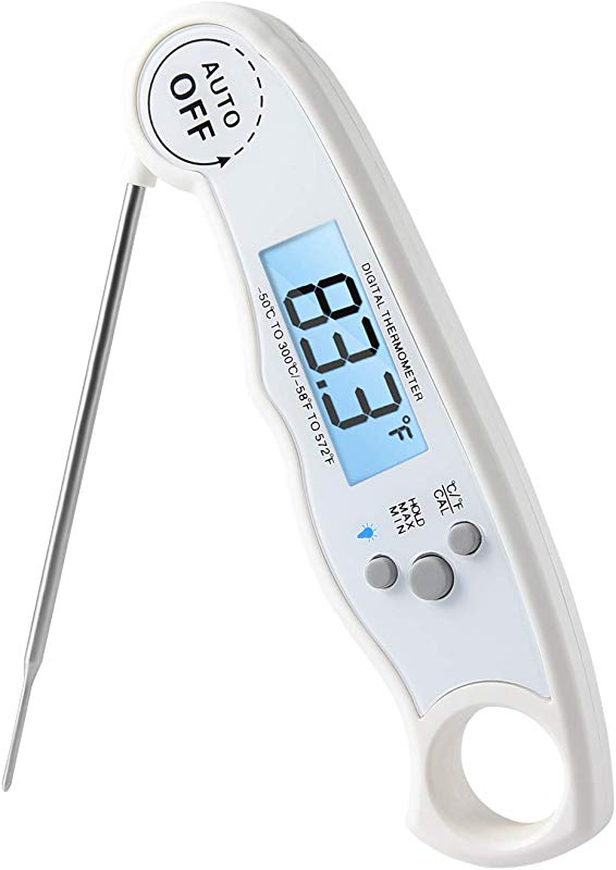 Mykit Instant Read Meat Thermometer With LCD Backlight Waterproof Digital Food Thermometer For Kitchen Outdoor Cooking BBQ Grill Barbecue Auto ON OFF 58 To 578 F Range Built In Magnet White