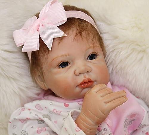 O-YMS mädchen Augen Offen Baby Dolls 22Zoll 5cm Weißes Silikon Vinyl Magnetisch Handarbeit Reborn Babys Puppe