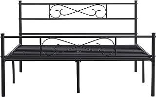 GrandCA HOME 140x190/90x190cm Cadre de lit,Cadre de lit en métal avec Les Motif Nuage/Son, avec Grand Espace de Rangement ...