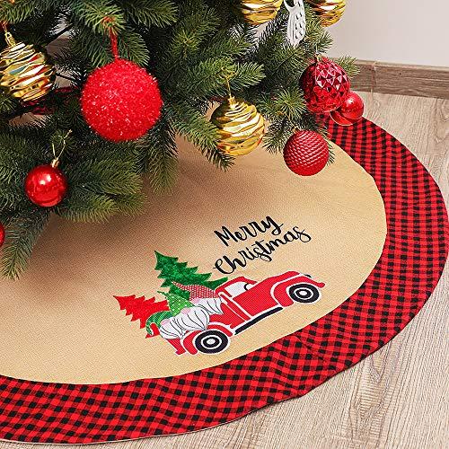 Baumdecke Weihnachtsbaum Decke Weihnachtsbaumdecke Runde, rot-schwarz, kariert, für Weihnachten, Party, Urlaub, Innen- und Außenbereich