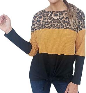 Mujeres Sudaderas Deportivo Cálido Chaqueta con Capucha con Empalme Estampade de Leopardo Pullover Suéter Casual Ropa para...