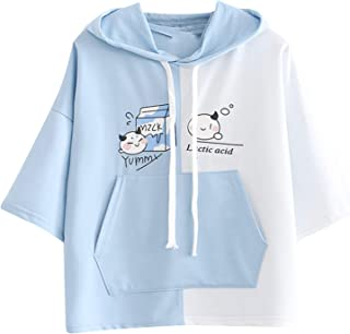 Xmiral T Shirt Vrouwen Leuke Kat Oor Pocket Sweatshirt Korte Mouw Dier Print Hooded Pocket Tops