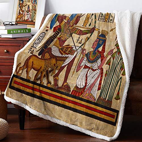 Antiguo símbolo de Estilo de los Dioses egipcios, Colcha Amarilla, Mantas, Mantas de Lana, Envoltura Personalizada Gruesa 150 x 200CM