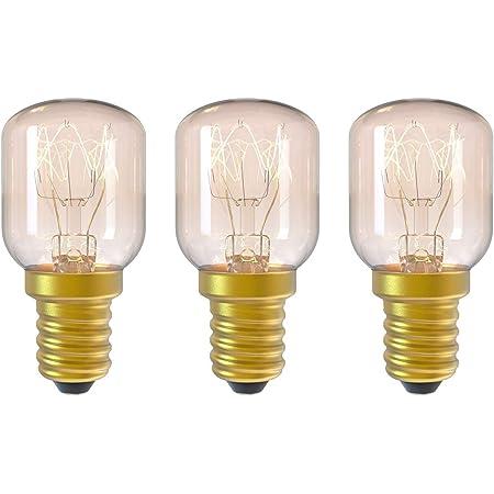 DGE 3Pack E14 15W Ampoule Incandescence 2300K Ampoule Four Dimmable Culot E14 Résistant Jusqu'à 300° C Lumiere pour Au Four/Lampe de sel/Four à Micro-ondes/Réfrigérateur Angle de Faisceau de 360°