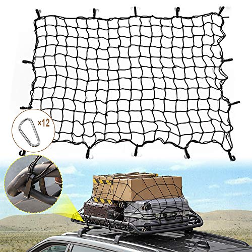 JeCar Bungee Cargo Net 4#039 x 6#039 Heavy Duty Mesh Net Stretch to 8#039 x 12#039 with 12pcs Aluminum Carabiners Universal for Rooftop Cargo Rack amp Small Trucks