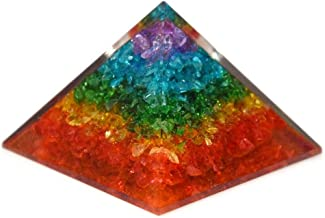 Healing Crystals Chakra Stones Emf Protection Orgone Pyramid, Reiki Energy Meditation Negative Ion Generator Pyramid for Positive Energy with Quartz and Copper (Chakra, 65MM-75MM)