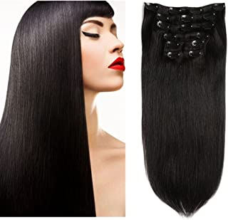 Friskylov Hair 24Inch Human Hair Clip in Extensions 100% Remy Human Hair Double Weft Grade 8A 100g(3.52oz) 7Pieces With 16Clips (24Inch, 1 Jet Black)