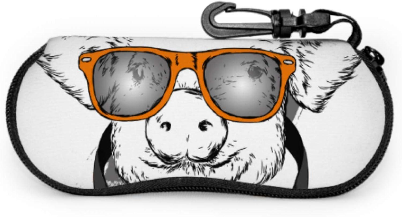 Interesting Pig Animation Fun Eyeglass Case Cute Glasses Case Light Portable Neoprene Zipper Soft Case Soft Eyeglass Case For Women