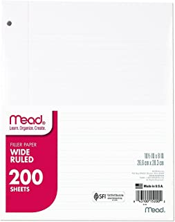 "Mead Loose Leaf Paper, Wide Ruled, 200 Sheets, Standard 10-1/2"" x 8"", Lined Filler Paper, 3 Hole Punched for 3 Ring Binder, Writing & Office Paper, College, K-12 or Homeschool, 1 Pack (15200),White"