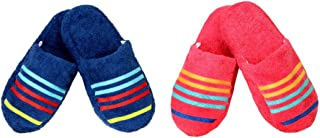 CASA COPENHAGEN 2pairs Combo Terry Cotton Cloth Bath/Spa Slippers One Size Fits Most, Midnight Blue & Honey Suckle
