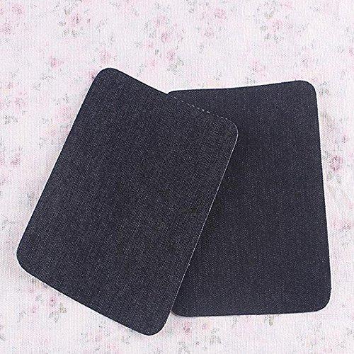 Ioffersuper 2Pair Iron on Denim Elbow Knee Patches Jeans Repair Art Decor Sewing Applique Black