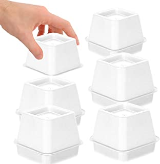 DuraCasa Bed Risers - Raises Your Bed or Furniture to Create an Additional 3 Inches of Storage! Reinforced New Heavy-Duty Design to Hold Over 2000 LBS! Desk or Sofa Lift (White 3 Inch Risers Set of 6)