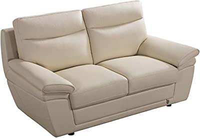 Benjara Faux Leather Upholsterd Wooden Loveseat with Channel Tufted Backrest, Cream,