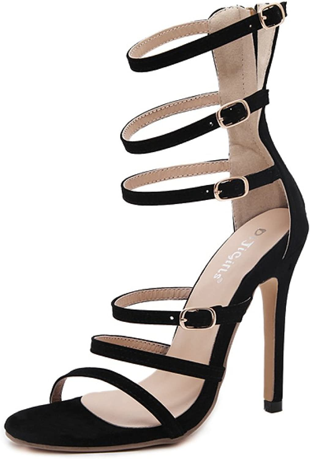 Womens Stiletto High Heels Roman shoes Buckle Sexy Ankle Strap Sandals Ladies Party shoes Wedding Gladiator Strappy Pumps,Black-EU36 230