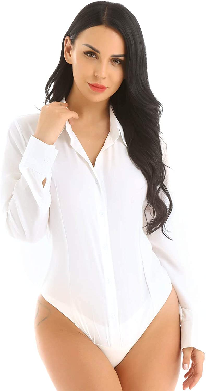 Yartina Women's Basic Long Sleeve Button Down Easy Care Work Bodysuit Shirts Blouses Leotard