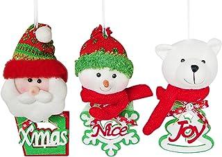 YING LING CRAFTS Christmas Tree Decorations Ornaments, Set of 3 Hanging Festive Seasonal Decorations, Plush Christmas Pend...