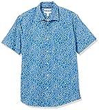 Amazon Essentials Regular-Fit Short-Sleeve Shirt Button-Down-Shirts, Azul Marino Grande Floral, XS