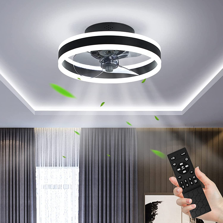 Ventilador de Techo con Control Remoto 48W Lámpara de Ventilador Regulable 3 Temperaturas de color y 6 Velocidades, Ultra Silencioso Lámpara de Techo, Luz de Techo para Dormitorio Restaurante Ø40cm
