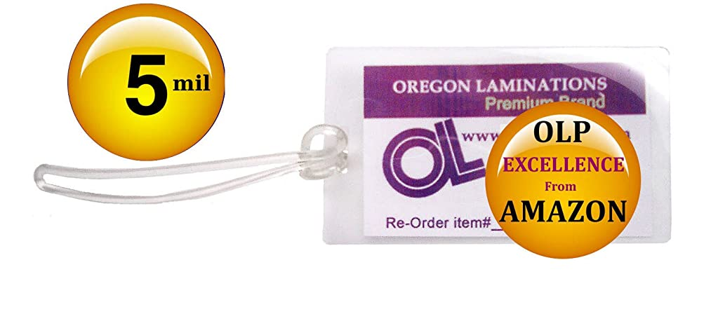 Qty 500 of each, Luggage Tags Laminating Pouches with Plastic Loops, 5 Mil 2-1/2 x 4-1/4 Slotted