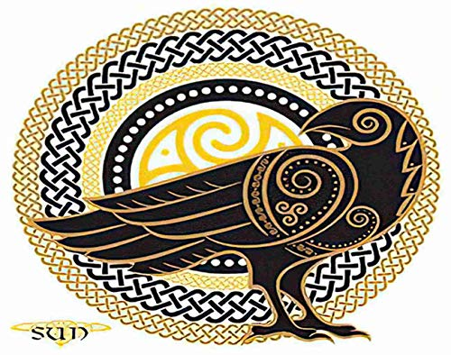 Aofire Halloween Crow Diamond Painting Kits for Adults Kids, Raven in Celtic on The Sun Mystery Divination Painting by Number Diamond Dotz 5D Crystal Gem Arts Wall Decor 16x20 Inch