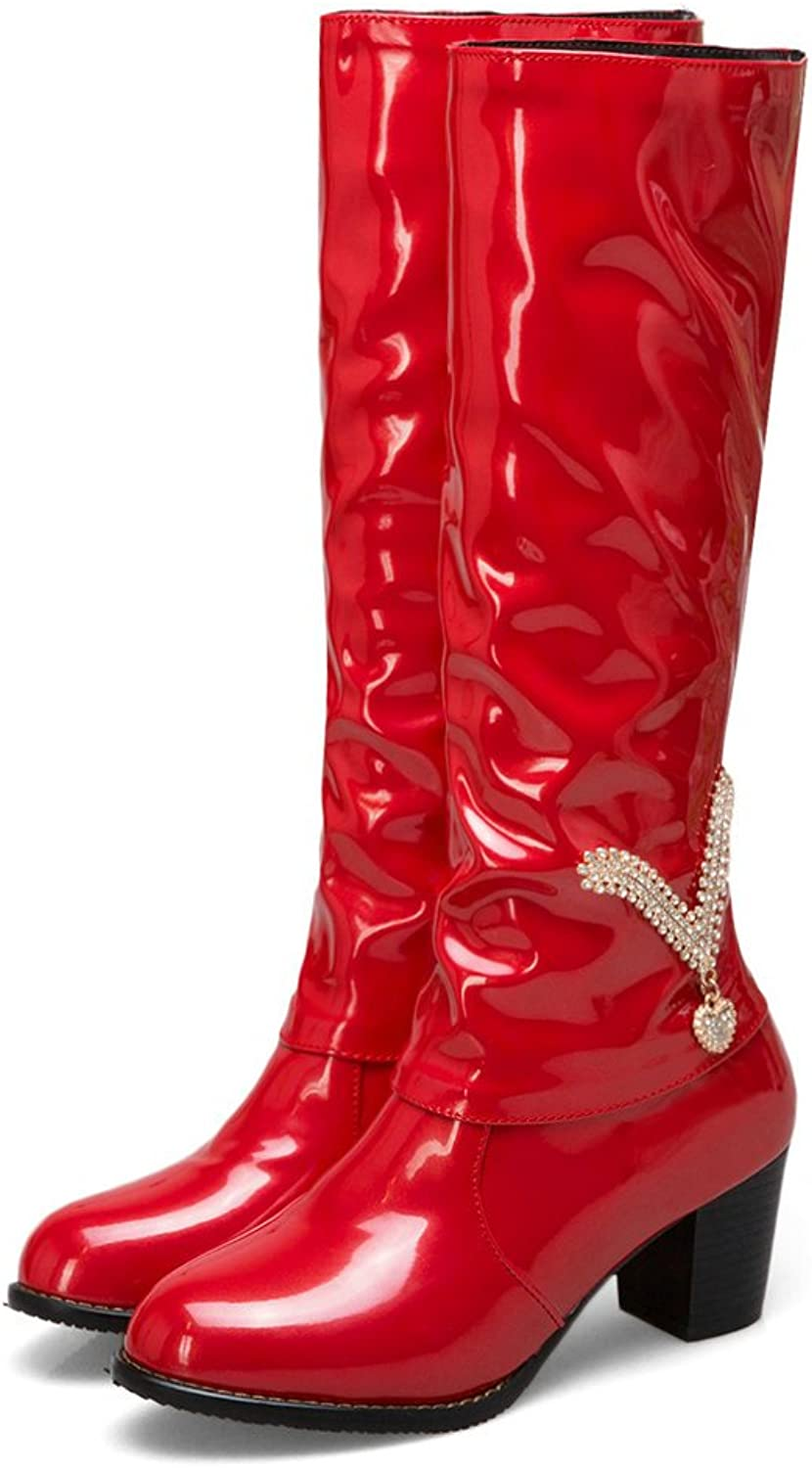 AnMengXinLing Knee High Boots Women Block Mid Heel Patent Leather Fashion Crystal Party Wedding Dress Booties Winter
