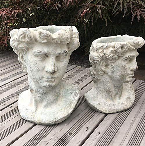 villa-lilla Valo Pflanzbüste Gartenbüste Römisch/Griechisch Antiker Männerkopf zum bepflanzen 22cm
