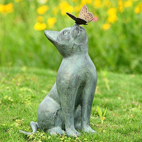 SPI Home Cat and Butterfly Curiosity Garden Statue Green 7.5″ x 10.5″ x 15″