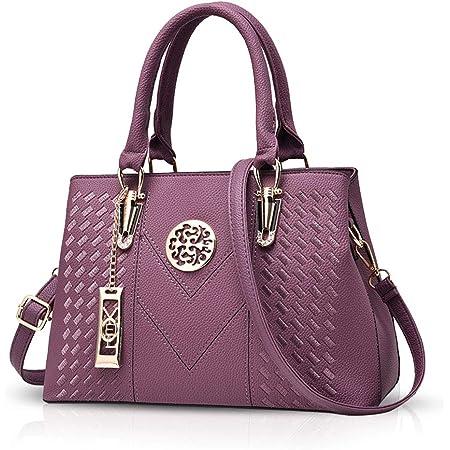 NICOLE & DORIS Elegant Taschen Stillvoll Damen Handtaschen Umhängetasche Shopper Frauen Schultertaschen Henkeltaschen PU Leder Tasche mit Anhänger Geschenke Lila