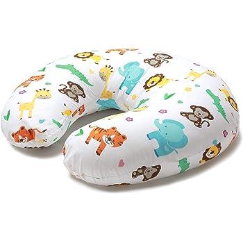 Niimo Cuscino allattamento Neonato + Federa 100% Cotone Sfoderabile e Lavabile con Zip a Scomparsa Facilita L'allattamento al seno o con il Biberon (Giungla)