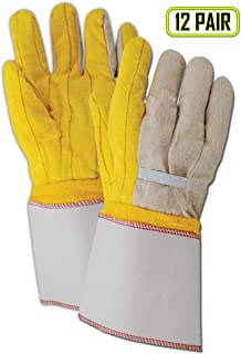 Magid Glove & Safety 64JTNEG Magid MultiMaster 18 oz. Double Palm Gloves with Elastic Back, 8, Yellow, Men's Jumbo (Fits XL) (Pack of 12)