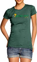 TWISTED ENVY Womens Novelty T Shirt Green Bay American Football Established