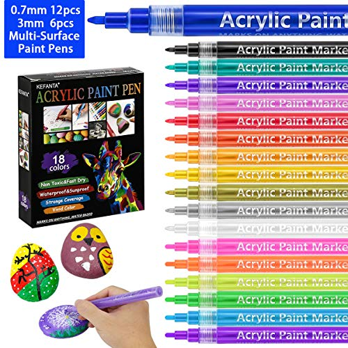 Acrylic Paint Pens, 18 Colors Acrylic Paint Markers for Rocks Painting, Ceramic, Glass, Wood, Fabric, Canvas, Mugs - Include 0.7 mm(12pcs) and 3mm(6pcs)