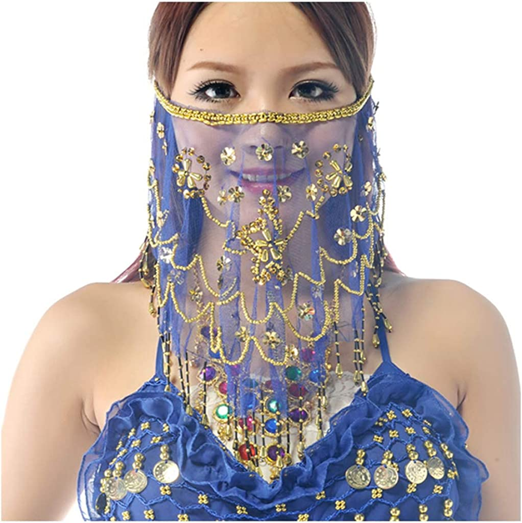 MUNAFIE Belly Dance Face Veil With Beads