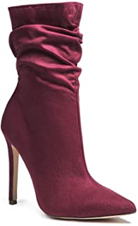 fatty tiger Womens Ruched Pointed Toe Ankle Boots Soft Faux Suede High Stiletto Heel Ankle Booties Wine