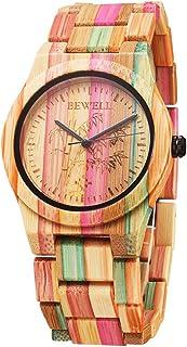 ساعت مچی مد ساعت کوارتز آنالوگ رنگارنگ بامبو رنگارنگ دست ساز با رنگ های ترکیبی